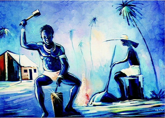Henry Anaje  'UZU  AWKA', created in 2003, Original Painting Oil.