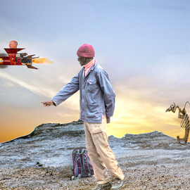 Herman Van Bon: 'the hitchhiker', 2016 Digital Photograph, Surrealism. Artist Description: Composite photo of a hitchhiker across the road together with a few sculptures of local artist Uhlrich Riek and in the  spaceship  you see recycle artist Jan Vingerhoets from Baardskeerdersbos. The spaceship is assembled of different elements in his own scrapyard.  in black frame ...