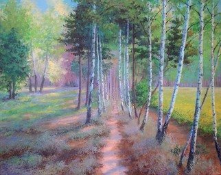 Julia Utiasheva Artwork Birches path, 2007 Acrylic Painting, Landscape