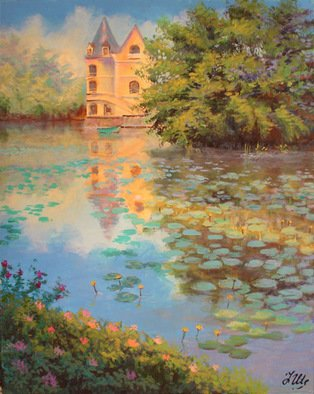 Landscape Acrylic Painting by Julia Utiasheva Title: Lilies pond, created in 2007
