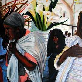 Monica Mackenzie: 'Devotion to Mother earth', 2011 Acrylic Painting, Figurative. Artist Description:  Painting based on a photography taken during Spring 2011 during the celebrations of Mother Earth in a town in Mexico  ...