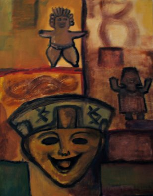 Monica Mackenzie: 'Happy faces', 2012 Acrylic Painting, Abstract Figurative.  Happy face, Happy heart from Olmeca culture in MexicoCaritas sonrientes                ...