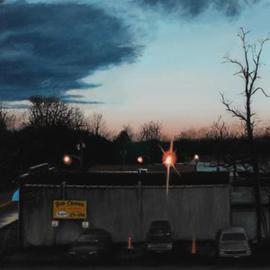 Matthew Hickey Artwork Dusk in Huntington, 2004 Oil Painting, Urban