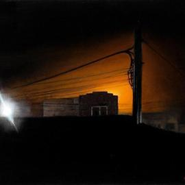 Matthew Hickey: 'Rooftop', 2005 Oil Painting, Americana.