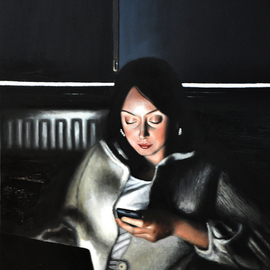 Matthew Hickey: 'Screen Time: Sarah', 2011 Oil Painting, Culture.