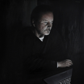 Matthew Hickey: 'Screen time: Uncle Pat', 2013 Oil Painting, Figurative. Artist Description:   Levittown legend Pat Connolly absorbed by Cat Stevens footage in a Slate Lane kitchen.   ...