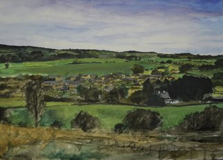 Matthew Hickey: 'Village in valley', 2012 Watercolor, Scenic.