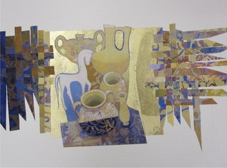 Collage by Hilary Pollock titled: Etruscan still life study, created in 2010