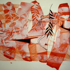 Hilary Pollock Artwork red frog, 2015 Gouache Drawing, Figurative