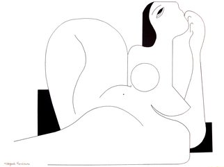 Hildegarde Handsaeme: 'feminine concept', 2019 Ink Drawing, Abstract Figurative. A structural design with special attention to color and balance.Shipping costs are for the buyer.The ink drawing is made on Arches granular paper 300g with the circumference serrated which makes the drawing even more beautiful when framing.Each drawing is stored separately in a plastic cover so that ...