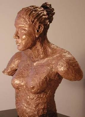 Bob Hill: 'Earth Maiden', 2002 Ceramic Sculpture, Ethnic. This serene, earthware figure, with abronze coating, is a strong vision ofa natural woman. ...