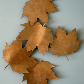 Bob Hill: 'Golden Fall', 2008 Steel Sculpture, Representational. Artist Description:  Five huge Maple leaves are falling gracefully through the Fall breeze     in this stunning wall sculpture. ...