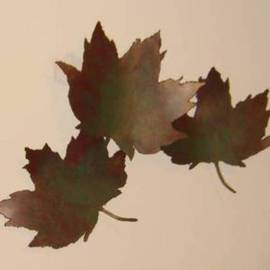 Bob Hill: 'Time to Change', 2006 Steel Sculpture, Buddhism. Artist Description:  Three large maple leaves float down on a sunny fall day; a glorious wall sculpture. ...