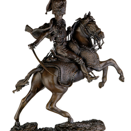 Fernando  Andrea: 'Bronze sculpture Officier de Chasseurs a Cheval de la Garde Imperial Chargeant 1812 ', 2014 Bronze Sculpture, History. Artist Description: