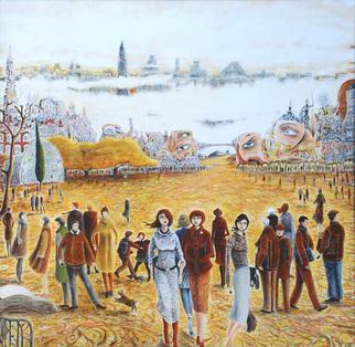 Artist: Carlos Pardo - Title: Campus II: three friends, three destinies - Medium: Oil Painting - Year: 2008