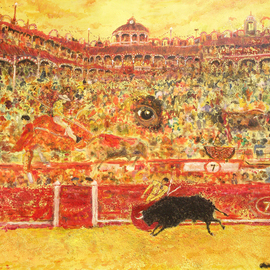 Carlos Pardo: 'Fiesta Bullfighting', 2006 Oil Painting, World Culture. Artist Description:  Blood and Sand. Red and Gold. At five in afternoon Fiesta beguins. Bravery and pain. Proud and passion. As time goes by the bull feels his end. The bullfighter waits the fame or death. The silent fear of die is drowned in sweat and bravery. The public is ...