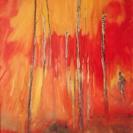 Carlos Pardo: 'Fire II', 2003 Oil Painting, Figurative. Artist Description: 0352Fire( II) / Incendio( II) / 2004/ Acrl. y oleo S/ Tabla / Acrl. & oil on Board55x40 cms/ / 21 5/ 8 x 15 3/ 4 inches260EUR. SOLD/ VENDIDO ...