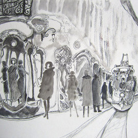 Carlos Pardo Artwork New boutique in Fashion Avenue, 2011 Other Drawing, Cityscape