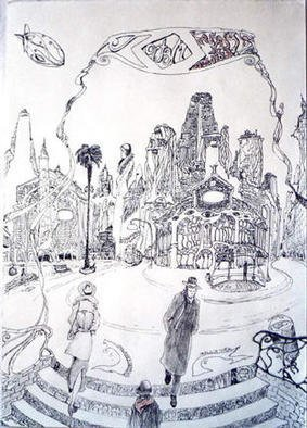 Carlos Pardo Artwork SpainSquareinComicCity, 2003 Other Drawing, Cityscape
