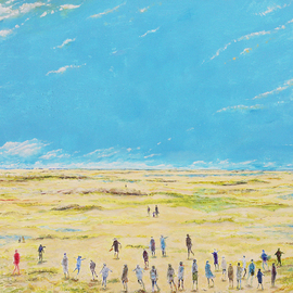 Carlos Pardo: 'Taking the beach in Spring', 2015 Oil Painting, Landscape. Artist Description:  people, walking, beach, sky, blue, Taking the beach in Spring Oil on table Carlos Pardo ...