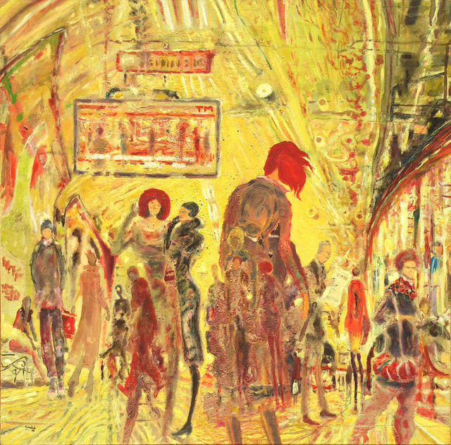 Carlos Pardo  ' Subway II', created in 2005, Original Drawing Pastel.