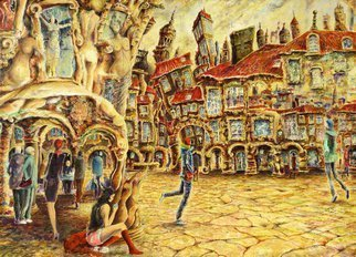 Carlos Pardo: 'muses watch us', 2016 Oil Painting, Cityscape. Artist Description:  Muses watch us. . . Oil on Wood 61x 85 x 0. 4 cms 2016 Carlos Pardo In ancient Towns, past centuries and the present are mixed in labyrinths of ancient stones, wet and mystery. The Muses came to live here a long time ago, even before the beginning of ...