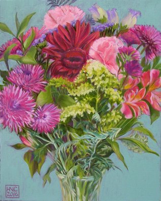 H. N. Chrysanthemum Artwork Flowers IV, 2016 Oil Painting, Floral