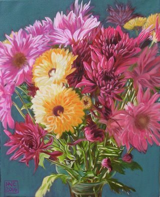 H. N. Chrysanthemum Artwork Flowers V, 2016 Oil Painting, Floral