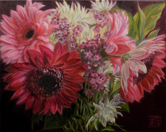 H. N. Chrysanthemum  'Flowers XI', created in 2018, Original Painting Oil.