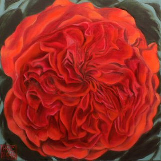 H. N. Chrysanthemum: 'Quartered rose', 2018 Oil Painting, Floral. original oil painting, rose, red, flower, floral...