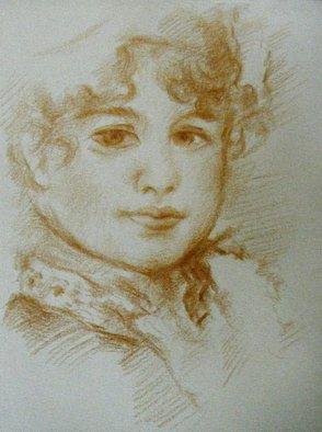 Waldemar A. S. Buczynski: 'After Pierre Auguste Renoir', 2011 Other Drawing, Beauty. Artist Description: After Pierre- Auguste Renoir. A copy/ study in Golden Brown Derwent pencil. ...