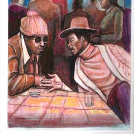 Hampton  Olfus : 'the hustle', 2020 Acrylic Painting, Urban. Artist Description: I was inspired by music and photos from a coffee table book, about the blues club called  Theresa s . I used the photos as a point of departure. ...