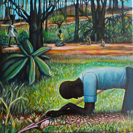 Hampton  Olfus : 'working playing and praying', 2020 Acrylic Painting, Ethnic. Artist Description: This art work is a visual of what animals on all levels do, in some form or another. The female s work is never done, while the male mixes his duties, and the youths of all species play....