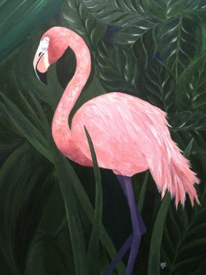 Anne-marie Landry Artwork Flamingo, 2015 Acrylic Painting, Animals