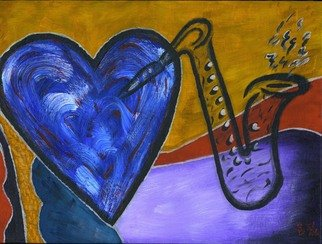 Sharon Dickerson: 'LoveNSax', 2006 Acrylic Painting, Abstract. My love of music....