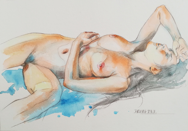 Hongtao Huang  'Female Nude 1', created in 2019, Original Watercolor.