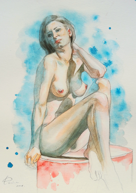 Hongtao Huang  'Female Nude 2', created in 2019, Original Watercolor.