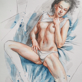 watercolour painting sexy girl By Hongtao Huang