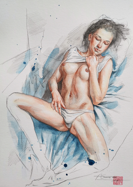 Hongtao Huang  'Watercolour Painting Sexy Girl', created in 2020, Original Painting Other.