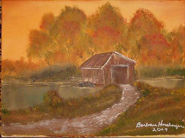 Barbara Honsberger  'Covered Bridge', created in 2009, Original Painting Oil.
