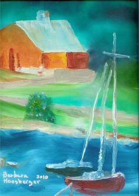 Barbara Honsberger Artwork Sailboats, 2010 Oil Painting, Landscape
