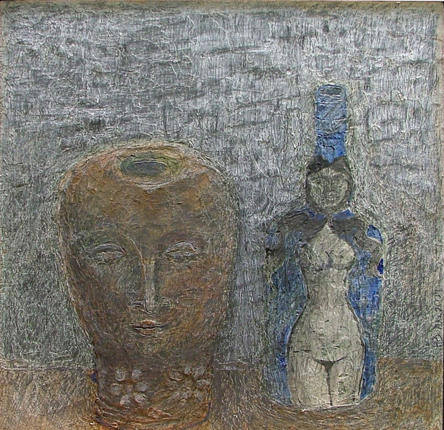 Hope Brooks: Terracotta Head and Blue Bottle, 2007 Mixed Media