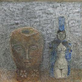 Terracotta Head and Blue Bottle