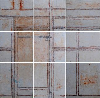 Hope Brooks: 'the door', 2018 Mixed Media, Abstract Figurative. Artist Description:  Painting for my friend Dr. David Boxer, celebrated artist and curator of the National Gallery of Jamaica.  Death is like a door that once passed is forever locked. Size: 9 panels ea. 18  X  8 Medium: modelong paste and gouache.Year: 2018...