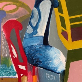 Howard Brotman: 'russian roulette', 2016 Oil Painting, Abstract Figurative. Artist Description: Russian Roulette - - Playing with positive and negative space, the chair acts as the vehicle in this piece. The basic colors of blue, red and yellow contrast against the action and movement of the forms. Note, in the room simulation image the ratio of the art to the objects ...