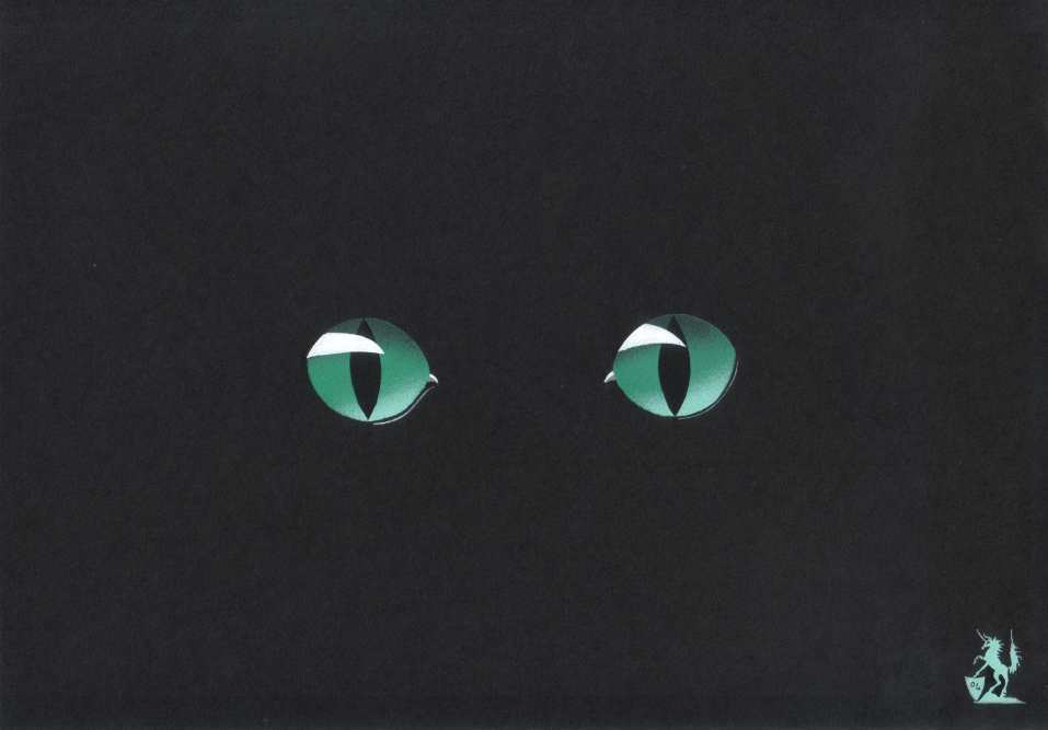Hubert cance 39 eyes black cat 39 painting acrylic artwork for Acrylic painting on black background