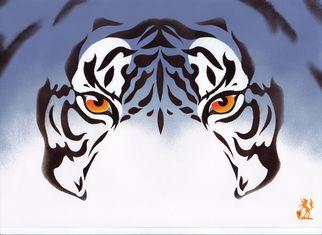 Artist: Hubert Cance - Title: Eyes: Blue Tiger 1 - Medium: Acrylic Painting - Year: 2008