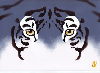 Artist: Hubert Cance - Title: Eyes: Blue Tiger 2 - Medium: Acrylic Painting - Year: 2008