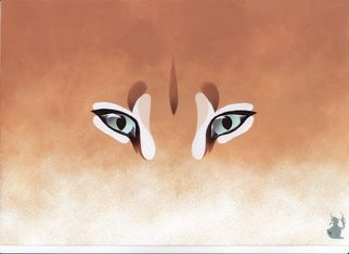 Animals Acrylic Painting by Hubert Cance Title: Eyes: Caracal, created in 2008