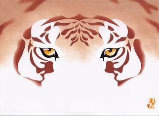 Artist: Hubert Cance - Title: Eyes: Golden Tiger - Medium: Acrylic Painting - Year: 2008